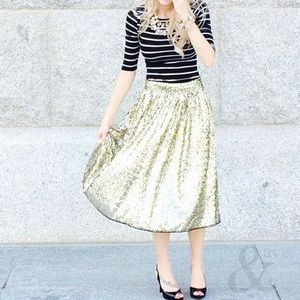Anthropologie Gold Sequin Midi Skirt M Ampersand